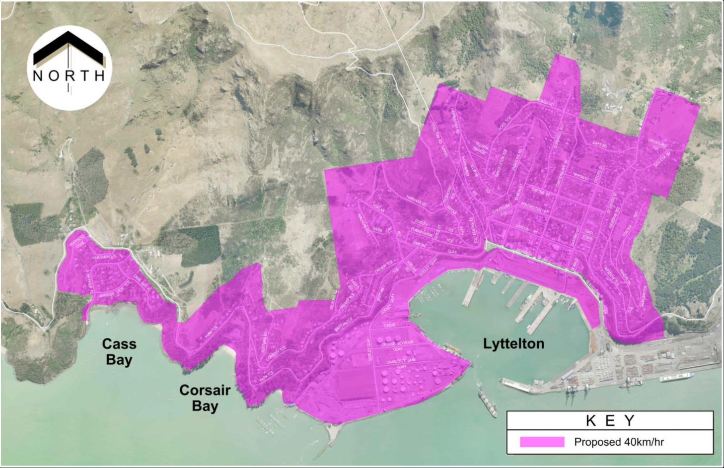 The Lyttelton, Corsair Bay and Cass Bay speed review area. Image: Newsline