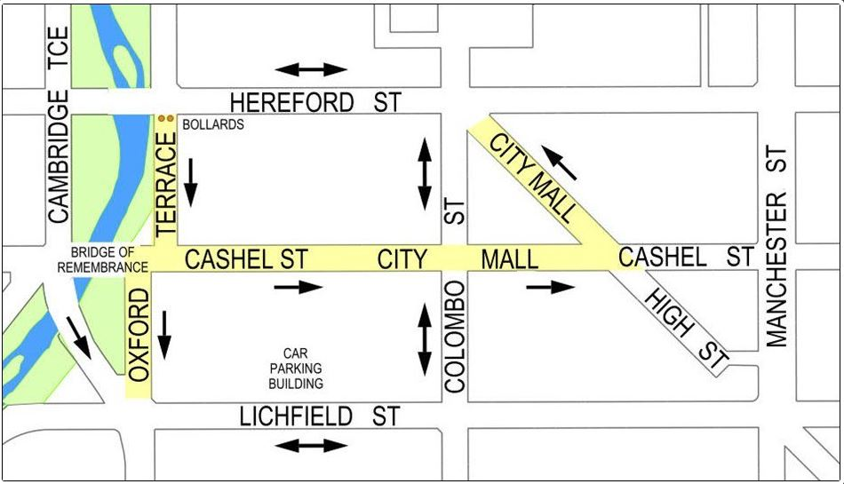 The proposed extension of the shared zone on Oxford Tce to City Mall. Image: Newsline / CCC