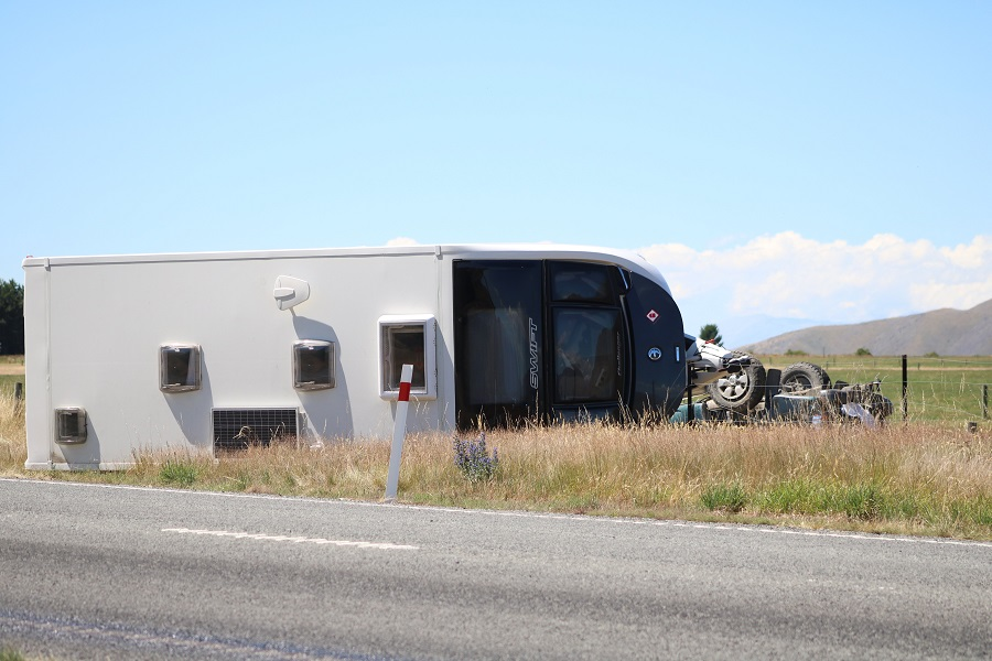 The ute was towing a caravan when it rolled near Omarama. Photo: Kayla Hodge