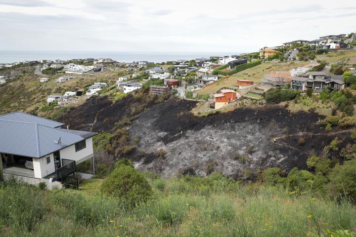 A fire in a gully on Balmoral Hill came close to several houses in Christchurch yesterday. Photo:...