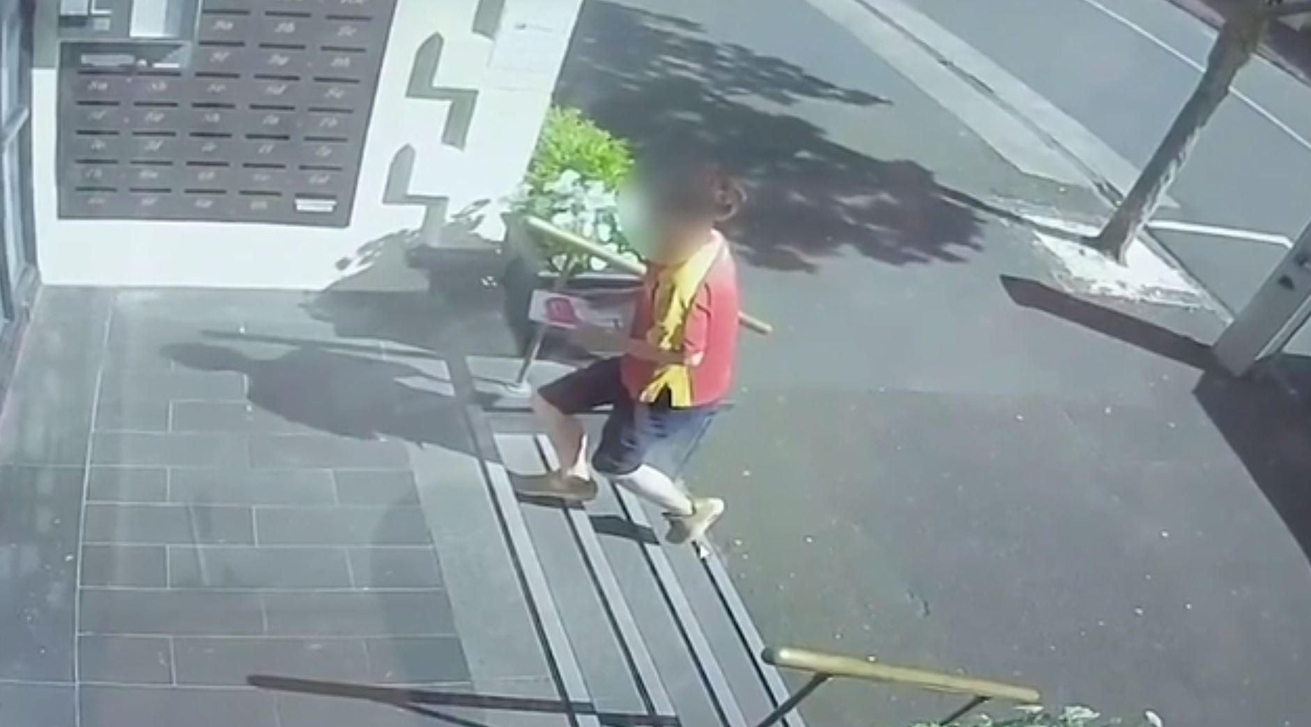 This courier driver, captured on CCTV, made no attempt at delivering the parcel, only a card to...