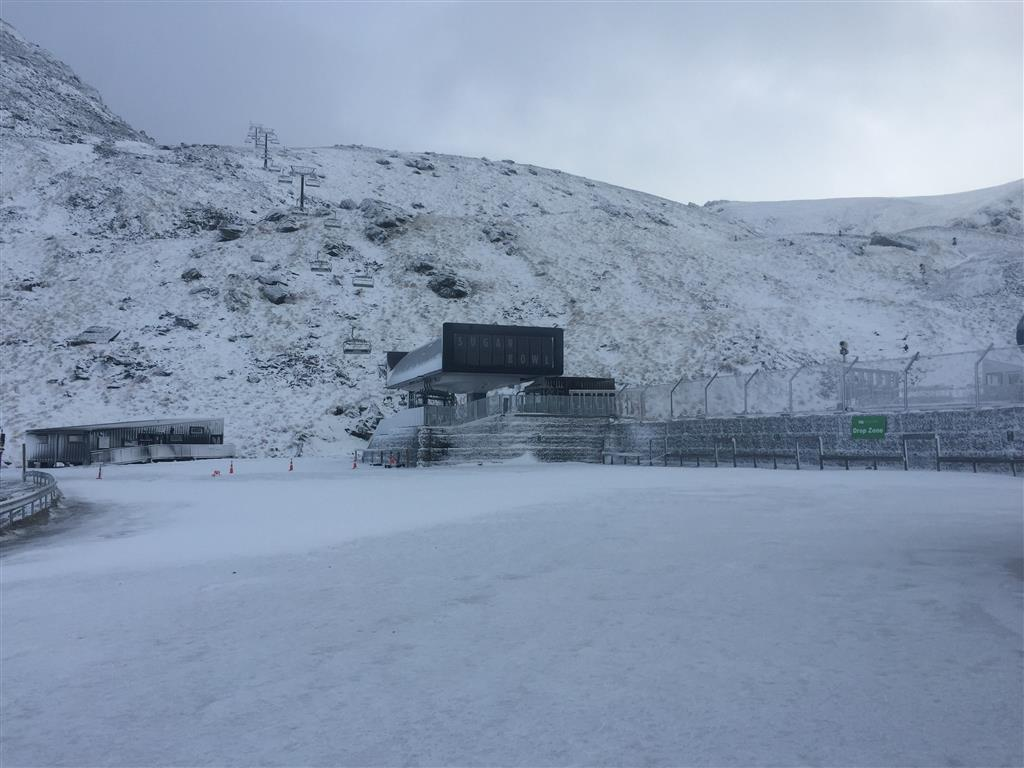 Snow at The Remarkables ski area this morning. Photo: Rebecca Winterburn