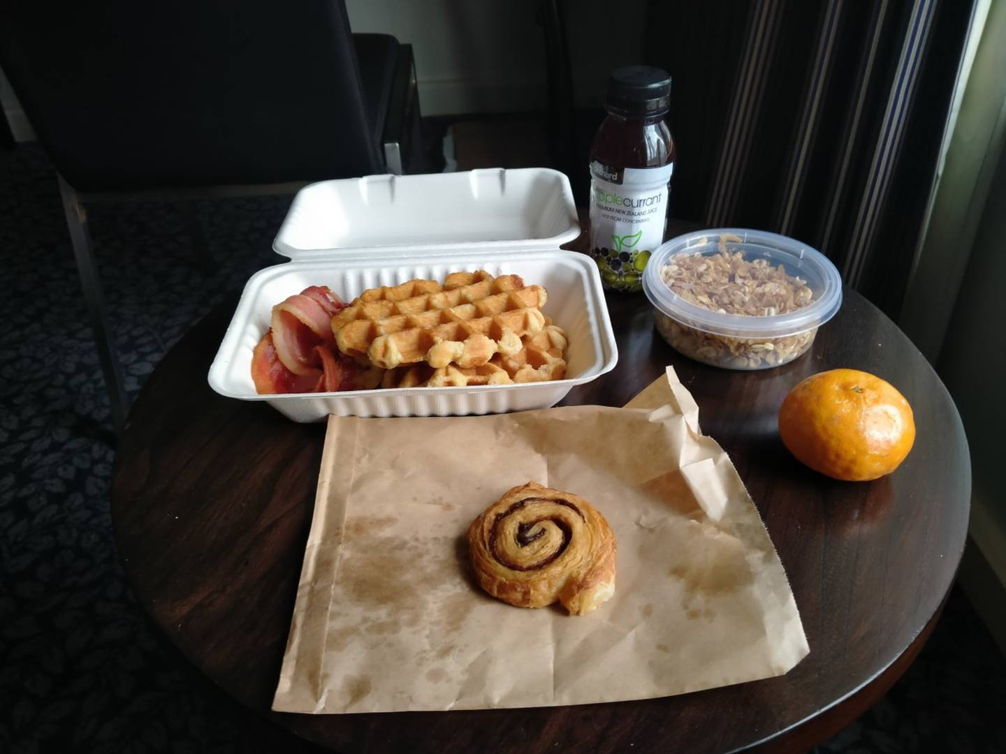 The man is upset at not being given any maple syrup with his waffles [pictured] and bacon for two...
