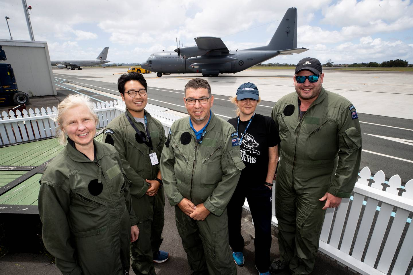Teachers take to the sky, from left, Sarah Lovell, Young Lee, Stephan Van Haren, Dr Angie...