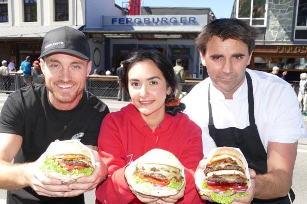 Fergburger team members Alex Drummond, left, and Marine Prudhon, centre, with Fergburger group...