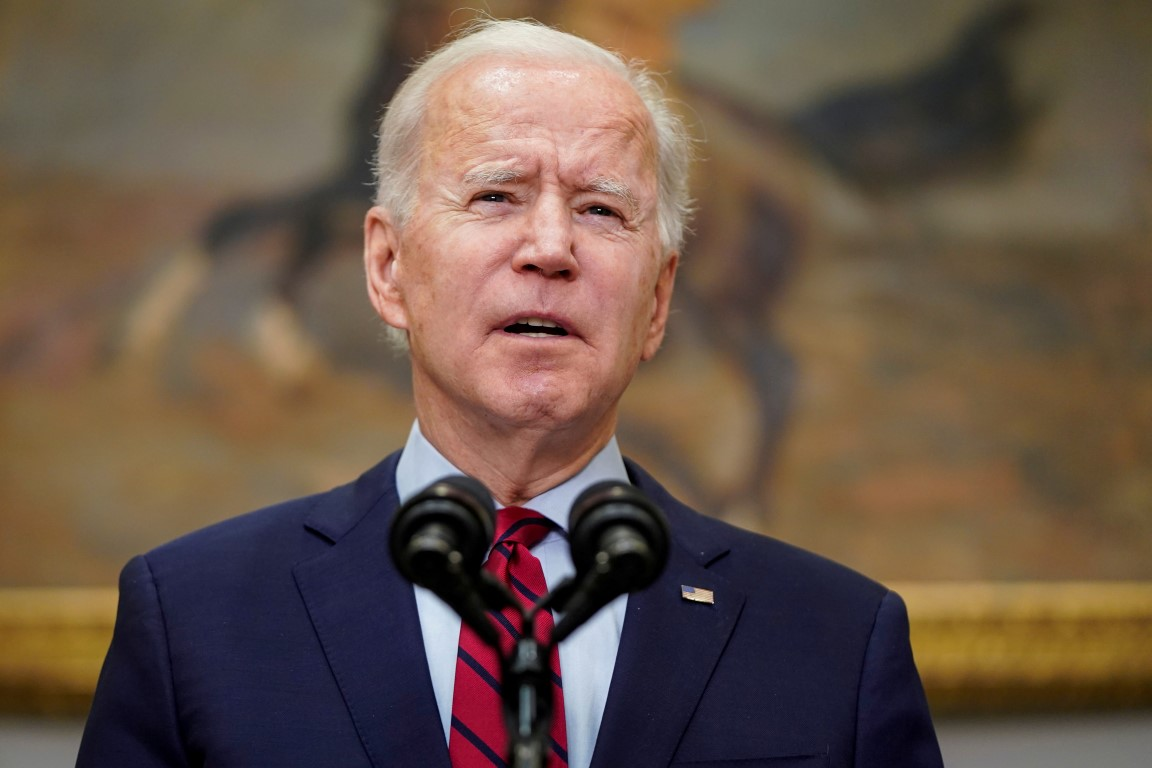 US President Joe Biden speaks in the Roosevelt Room of the White House in Washington after the...