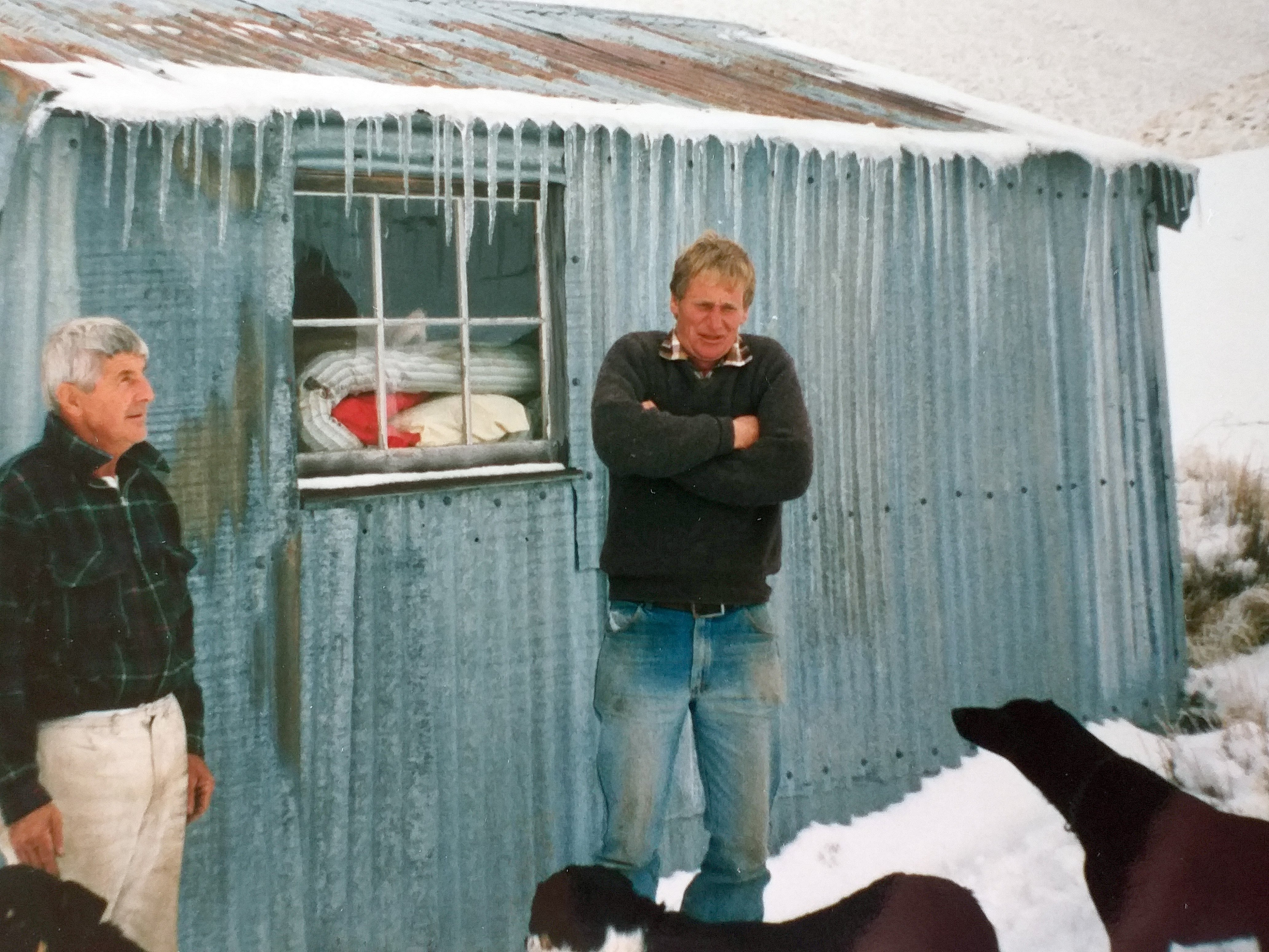 Packer Jim Tallentire (left) and musterer Tim Crutchley outside the Blue Duck hut during a...