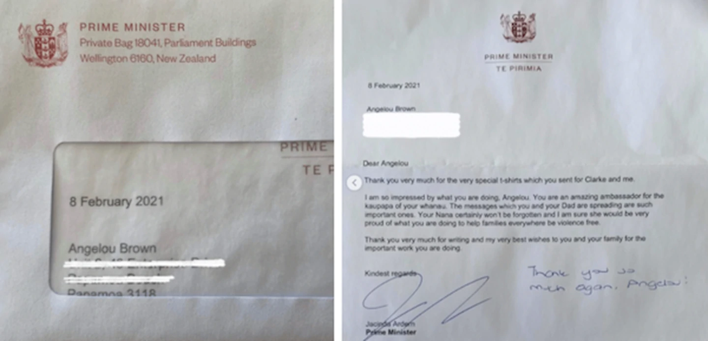 Jacinda Ardern has written Angelou Brown a thank you letter. Photo: Instagram