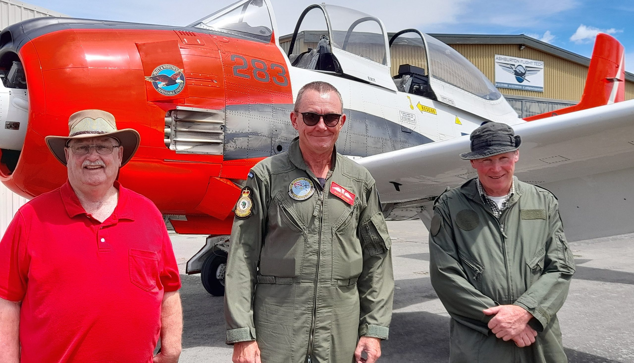 Ashburton Aviation Museum president Warren Janett (from left) with test pilot Dave Brown and...