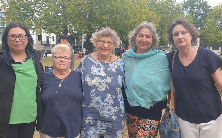 CTV survivors Quin Tang (left), Vivienne McRobert, Anne Malcolm, Nilguen Kulpe and Angela Osborne...