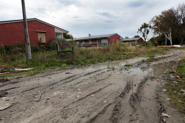 Liquefaction in the Christchurch red zone. Photo: RNZ / Diego Opatowski