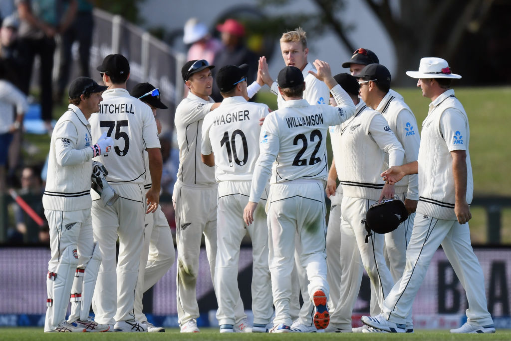 Black Caps players celebrate the taking of a wicket during their recent series against India....