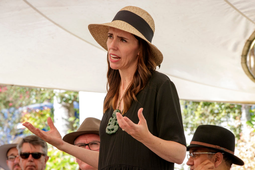Jacinda Ardern at a meeting with Maori Wardens in the Bay of Islands today. Photo: Getty Images