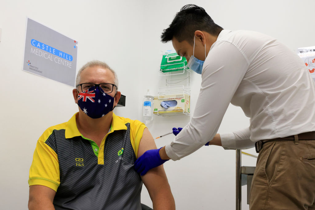 Australian Prime Minister Scott Morrison receives a Covid-19 vaccination at Castle Hill Medical...