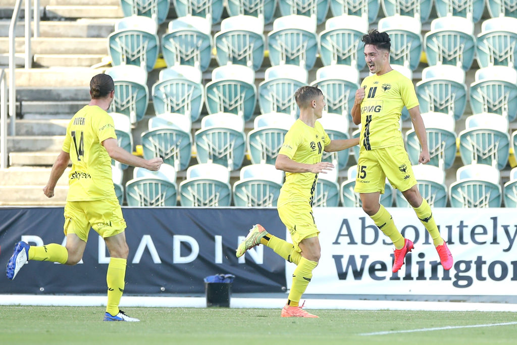 Wellington's Mirza Muratovic celebrates scoring against Western Sydney Wanderers. Photo: Getty