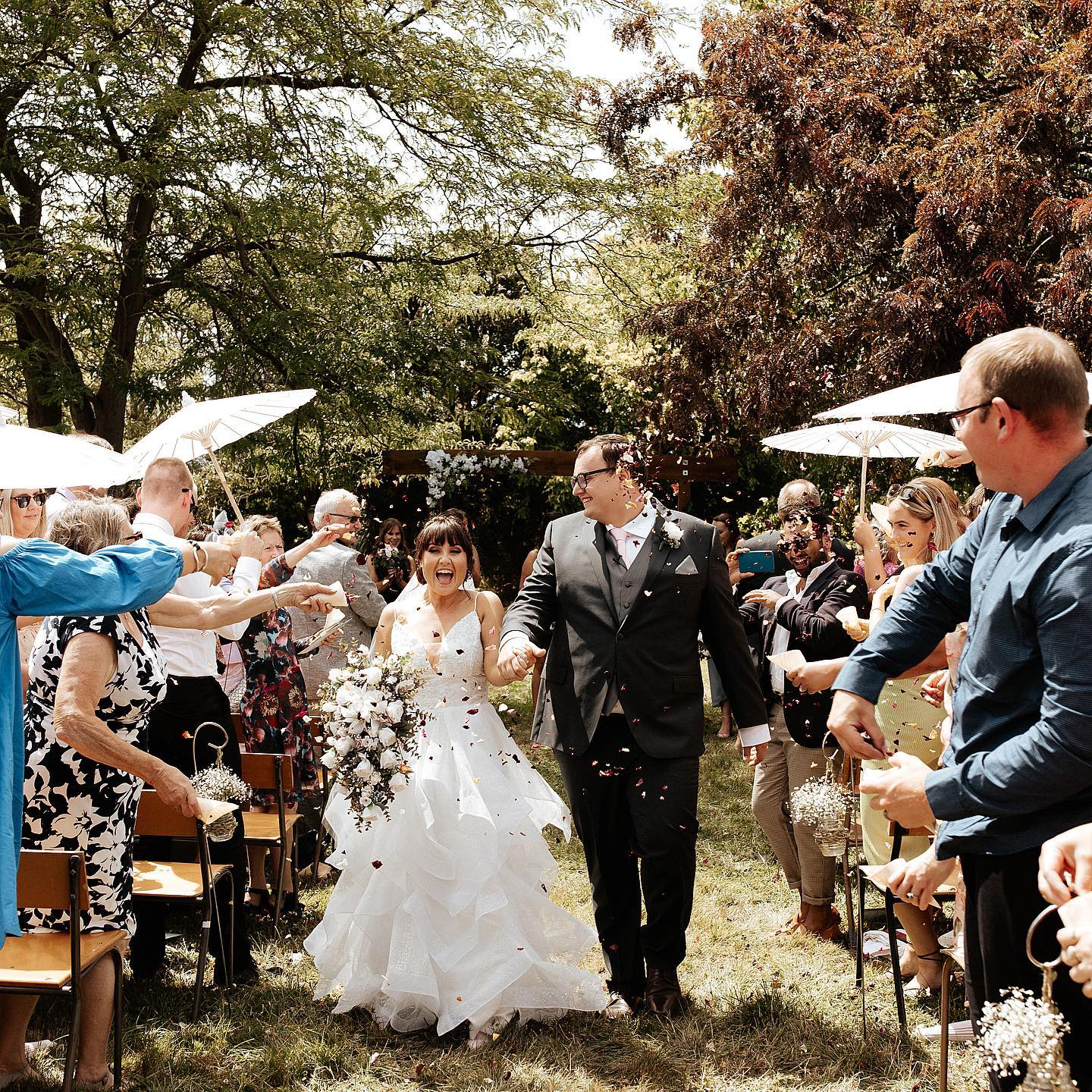 Katie and James Huntley tied the knot at the site of Katie's family's demolished home in the red...