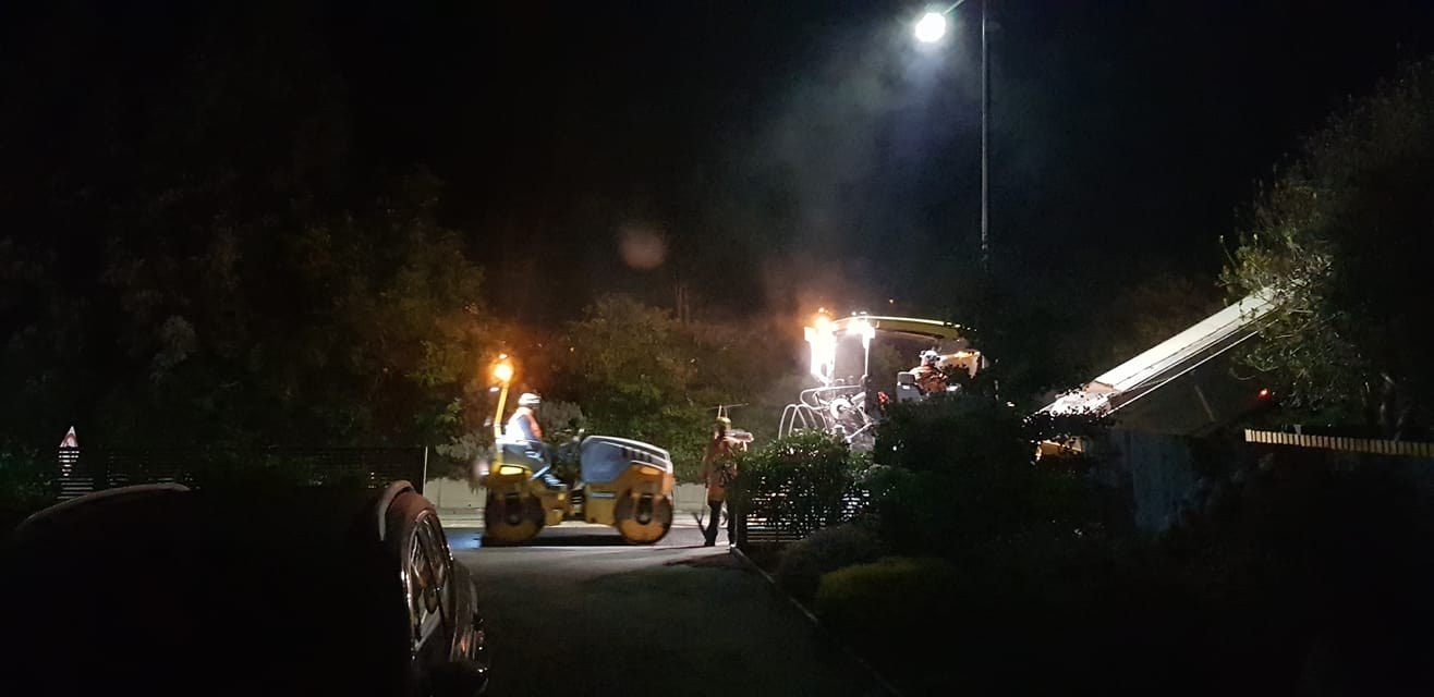 Port Hills Rd has been resurfaced at night during the past week. Photo: Judy Stack