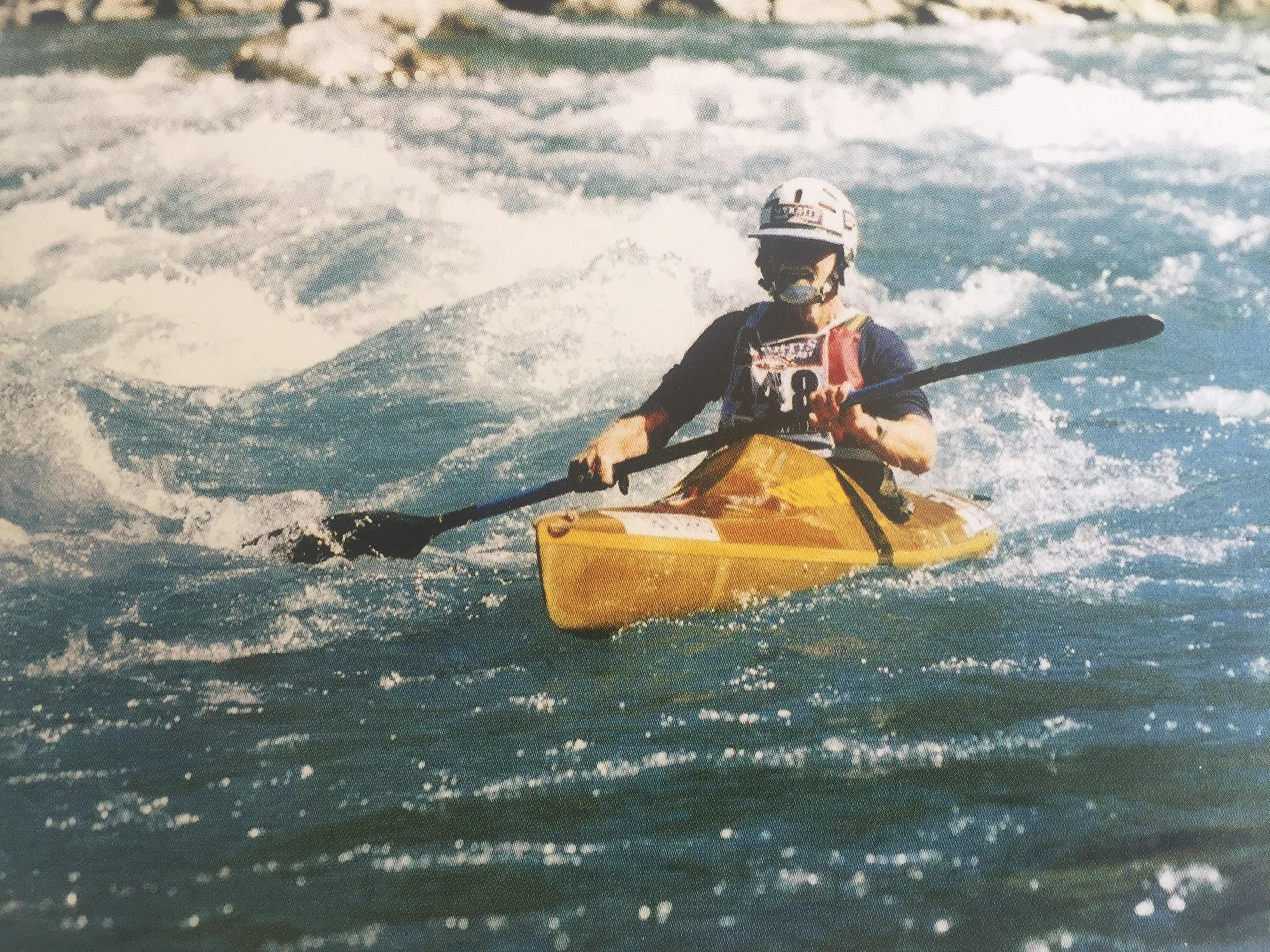 Bruce completes the kayak leg of the Coast to Coast in 2001. Photo: Supplied / Annie Horgan