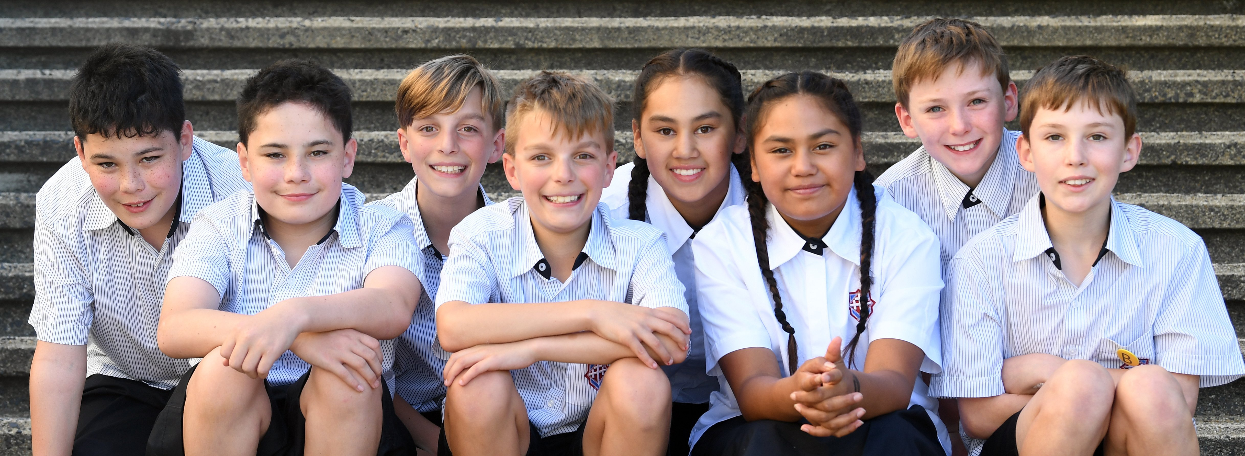 Kavanagh College's record four sets of year 7 twins (from left) Konrad and Levi Maaka, Noah and...
