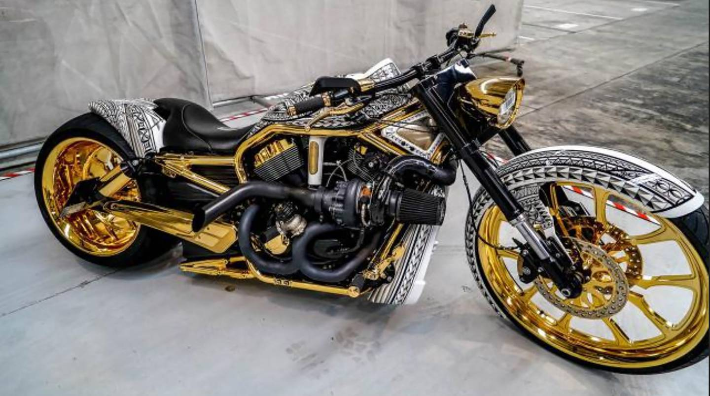 This gold-plated motorcycle was among the assets seized in Operation Nova. Photo: Supplied