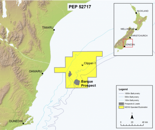 The Barque gas field prospect off the coast of Oamaru. Photo: New Zealand Oil and Gas