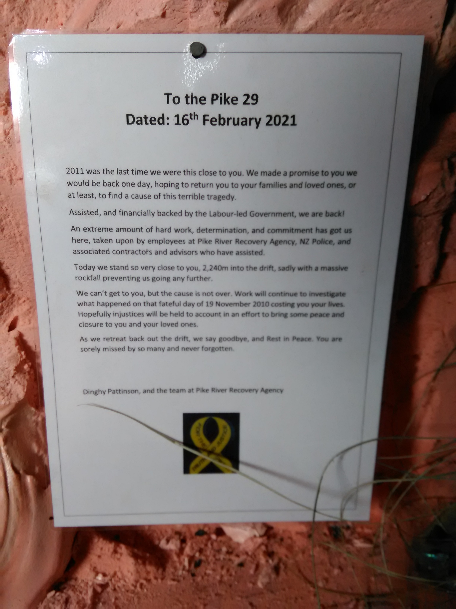 The letter written to the Pike 29  by chief operating officer Dinghy Pattinson and placed on the...