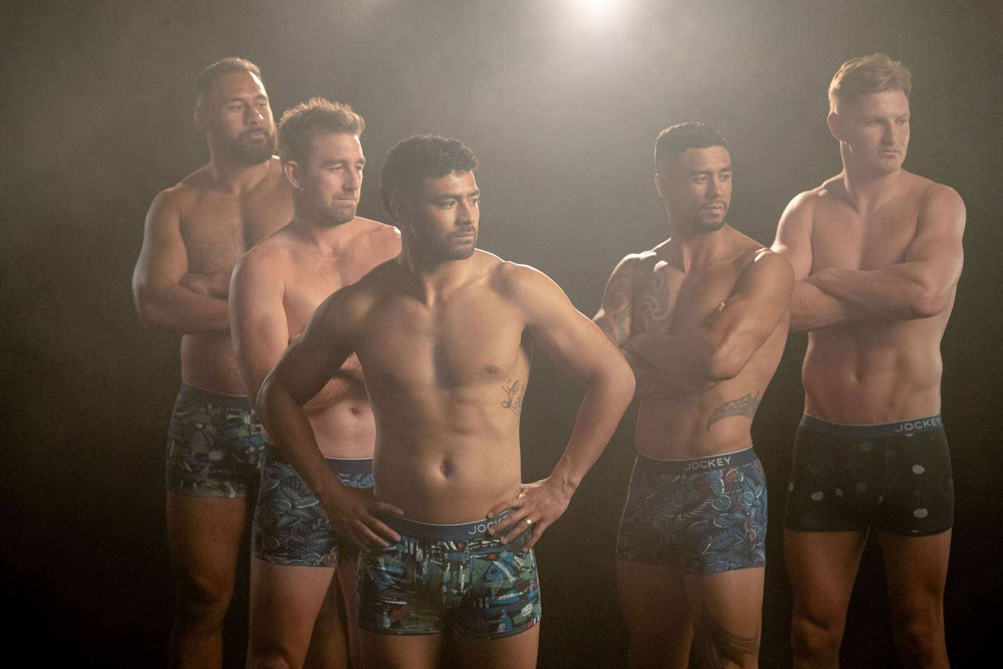 The All Blacks revealed their go-to pose is the classic rugby stance. Photo: Supplied