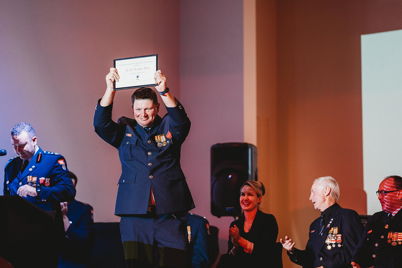 Richie Bee received his gold star at a presentation ceremony last month. Photo Tegan Johnson...