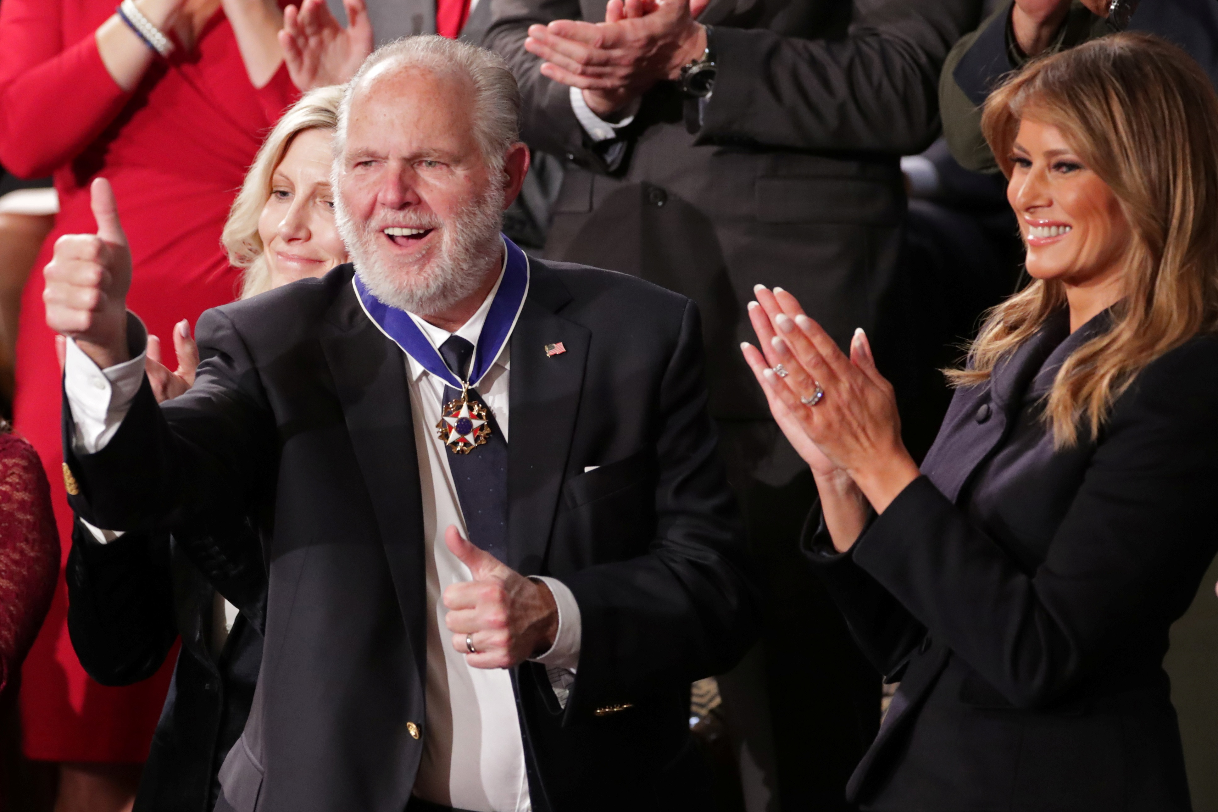Rush Limbaugh was awarded the Presidential Medal of Freedom by US First Lady Melania Trump in...