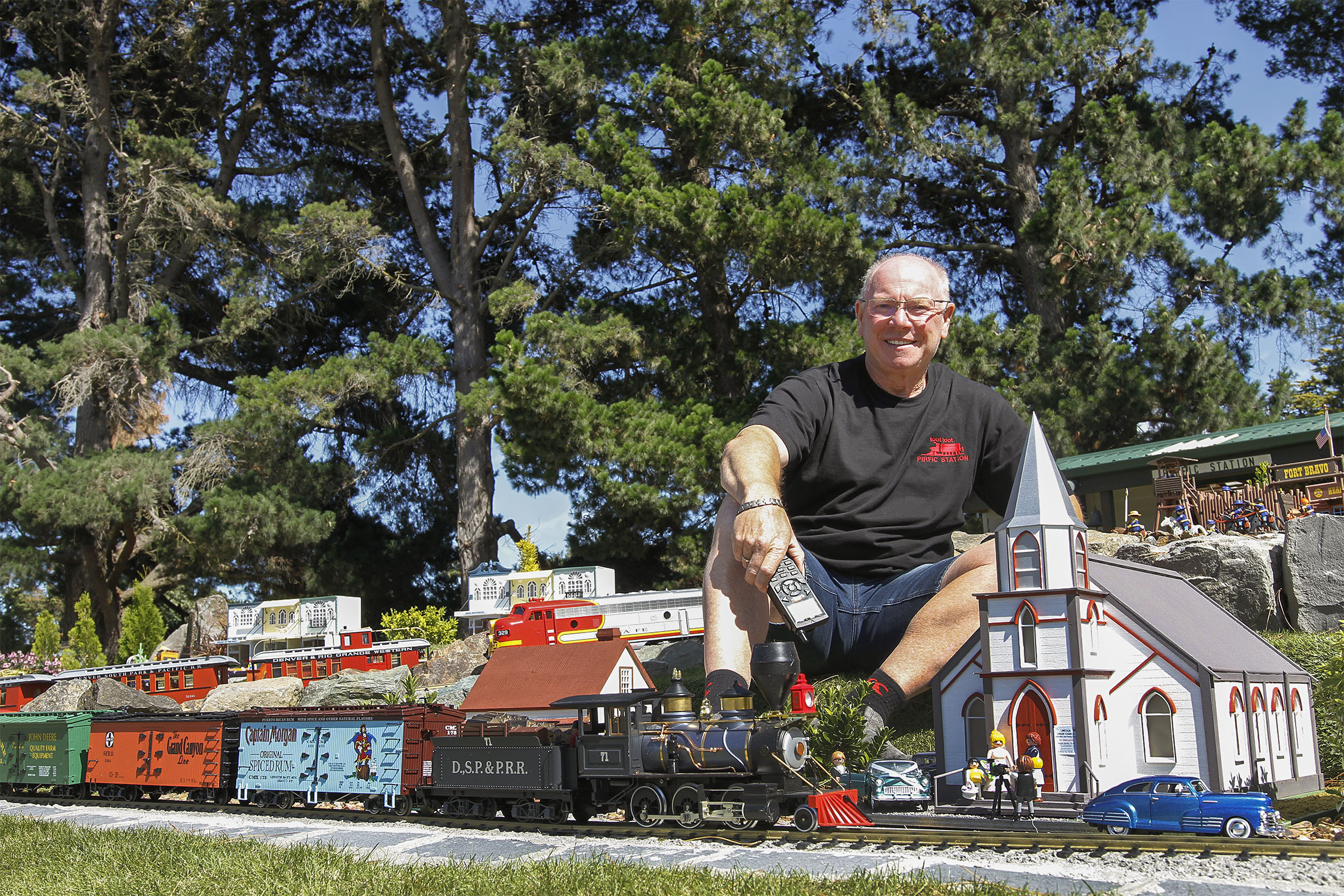 Bill Stanley has transformed his backyard into a garden railway enthusiast's paradise. Photo:...