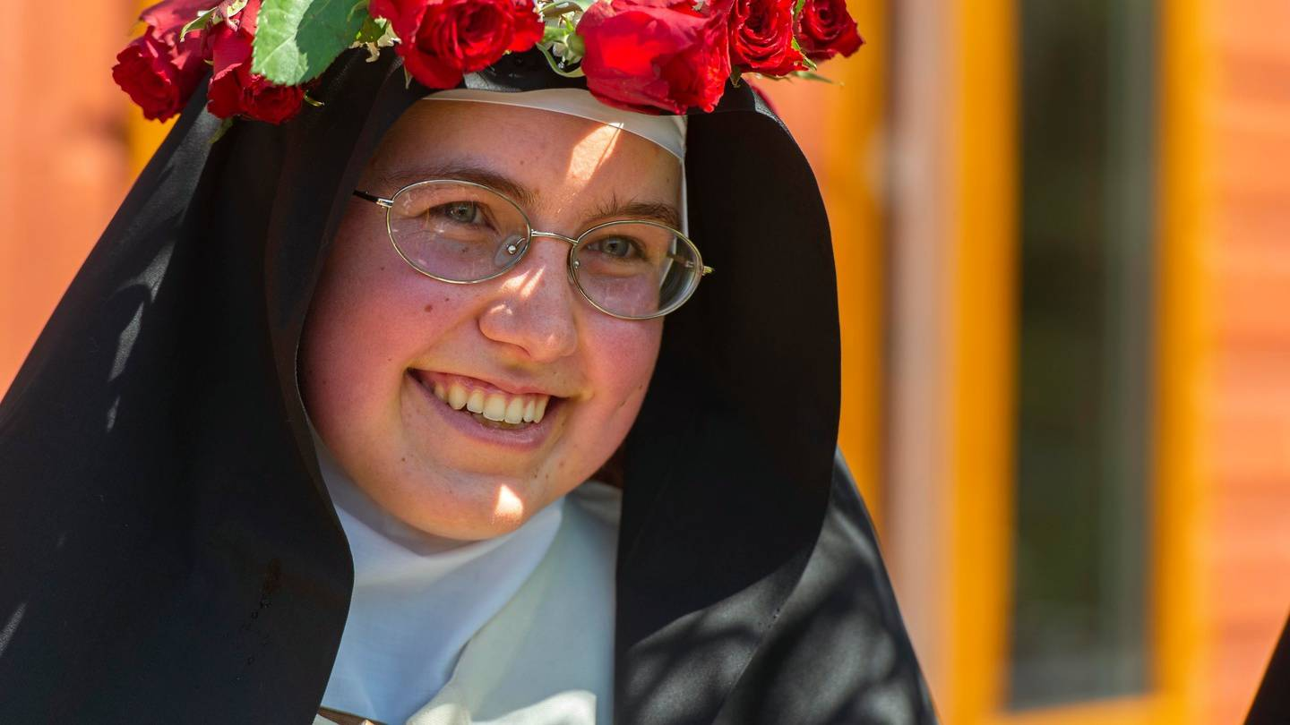 Sister Anne Marie pictured at he time of taking a vow of silence to become a Carmelite Nun of the...