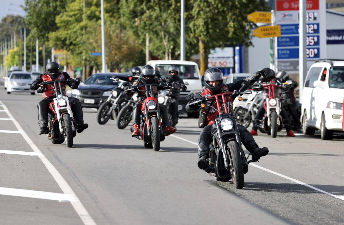 The gang members roared through the quiet North Canterbury town of Amberley on Friday. Photo:...