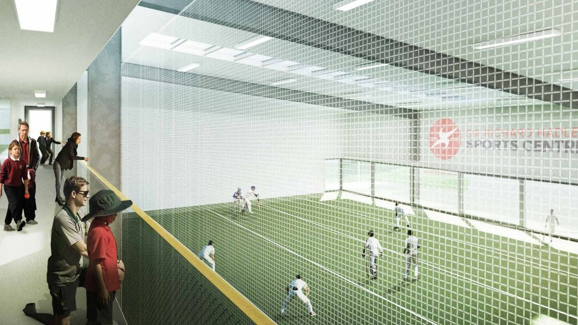 An artist's impression of the planned Sir Richard Hadlee Sports Centre. Image: Newsline / CCC