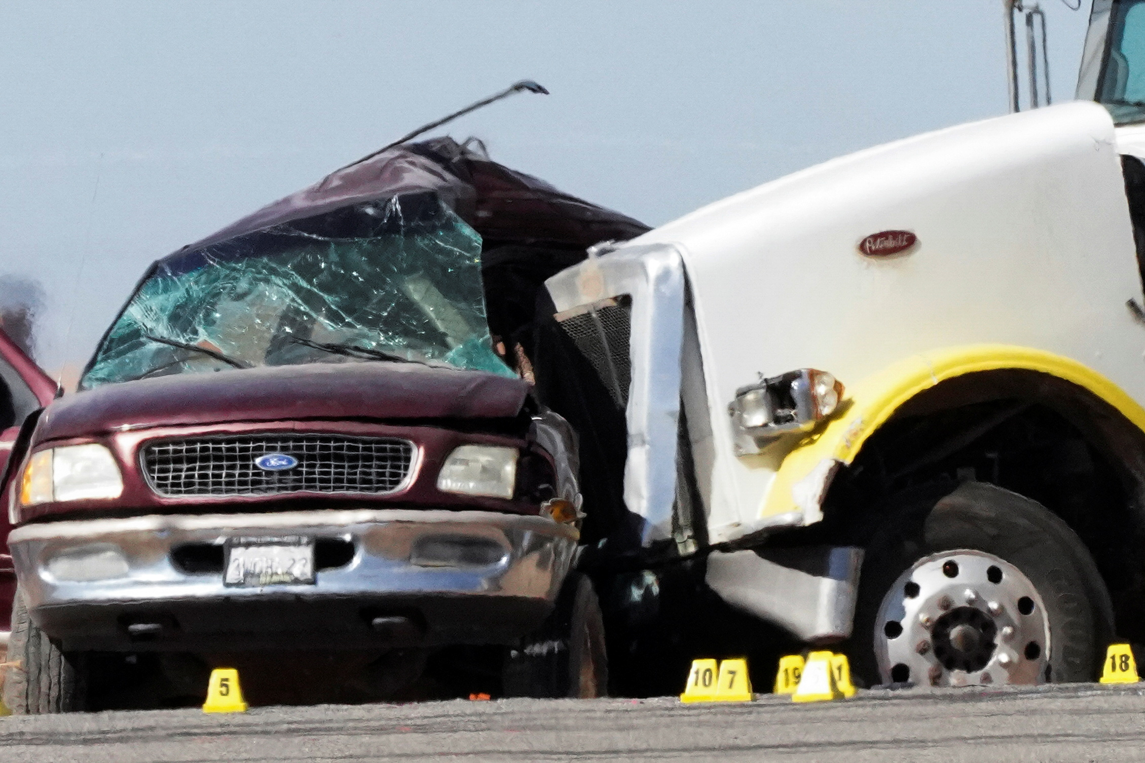 The entire driver's side of the smaller vehicle was caved in, and the passenger side was flung...