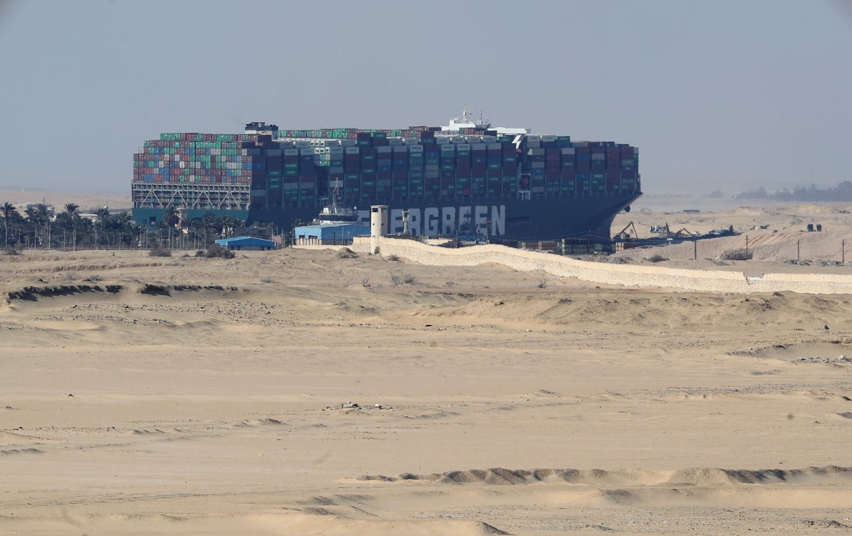 The stranded container ship Ever Given after it ran aground in the Suez Canal. Photo: Reuters