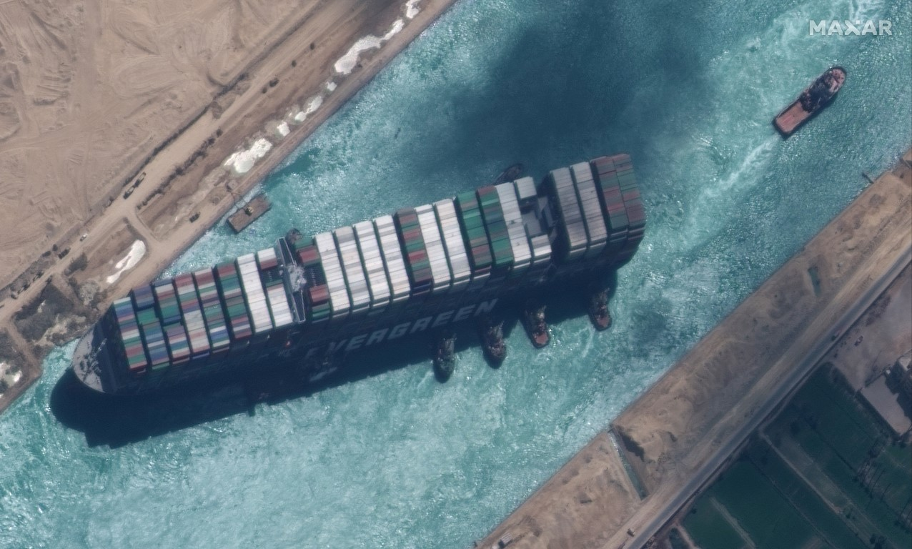 The Ever Given is seen in Suez Canal in this Maxar Technologies satellite image taken on March 29...