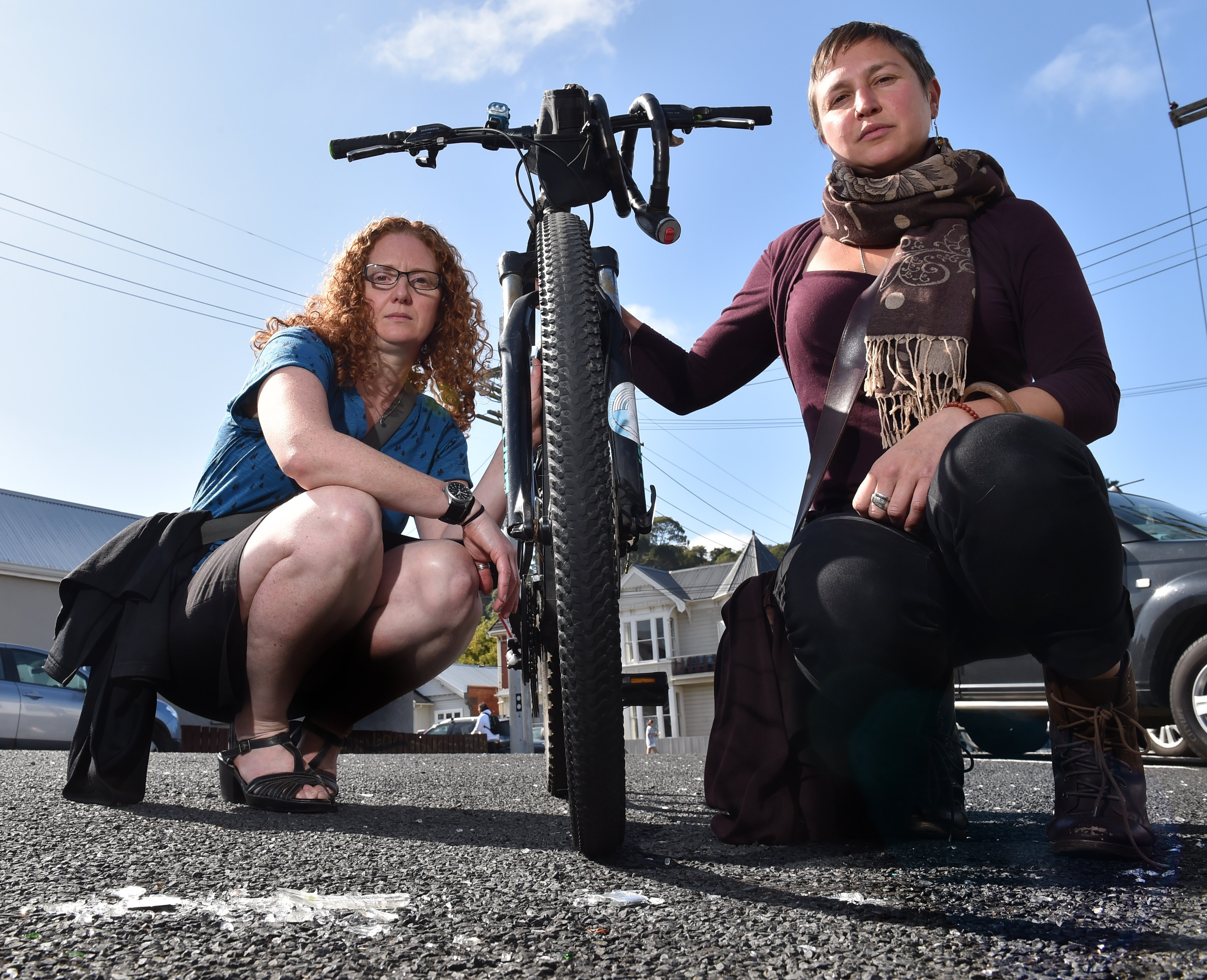 Kimberly Smith (left) and Kitty Cresswell-Riol say Dunedin streets should be safe for cyclists....