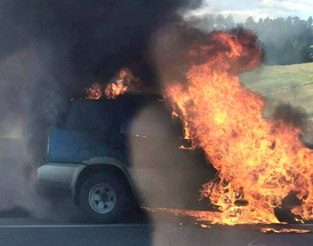 A car on fire on the Kilmog. Photo: Supplied