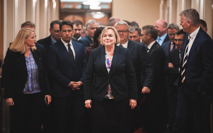 Judith Collins leads the National caucus to a media conference last week. Photo: RNZ