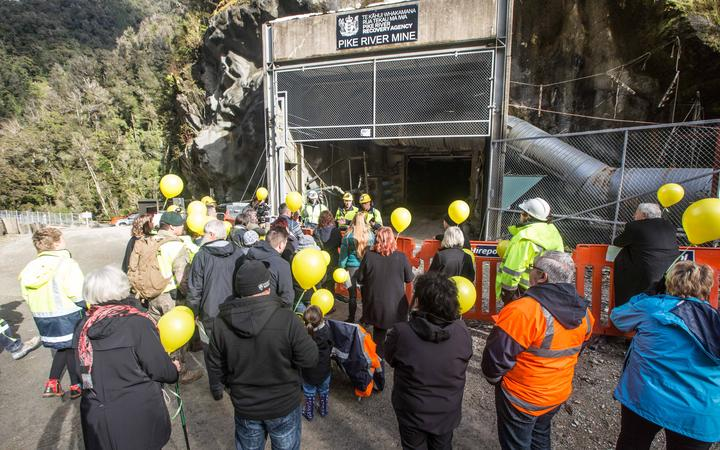 Families at the entrance to the mine for the re-entry in May 2019. Photo: Supplied / Pike River...