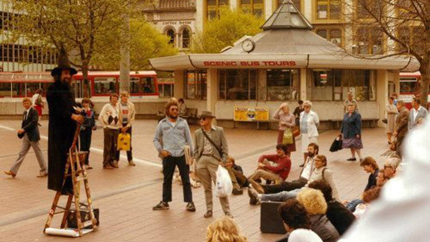 The former police kiosk has been a feature in the square since the 1970s. Photo: Christchurch...