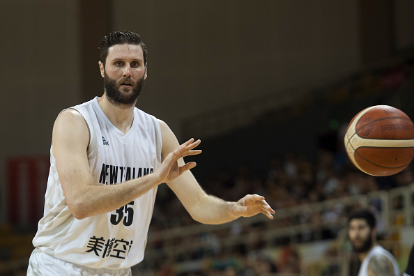 Alex Pledger on court for New Zealand against Serbia in China in 2019. Photo: Tao Zhang / Getty...