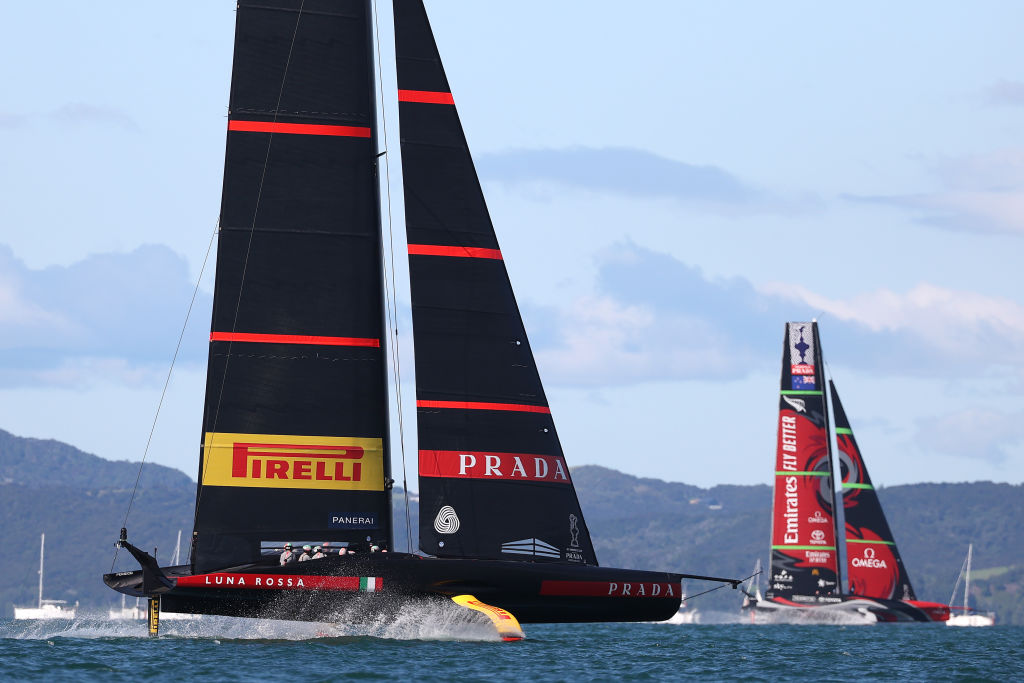 Luna Rossa leads Team New Zealand on its way to victory in Race 3 today. Photo: Getty