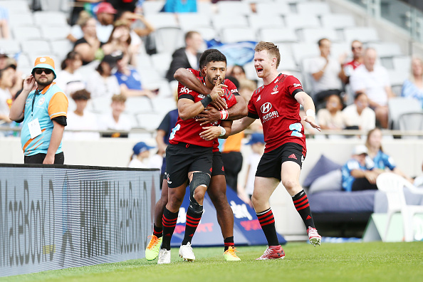 Mo'unga celebrates after scoring a try. Photo: Getty Images