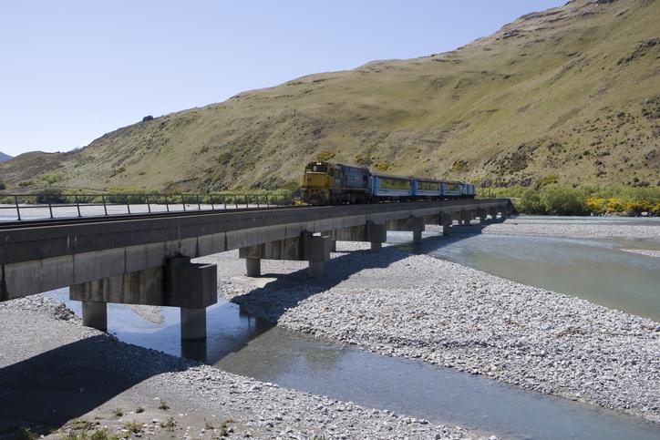 The TranzAlpine crossing the Waimakariri River Bridge. Photo: Getty Images