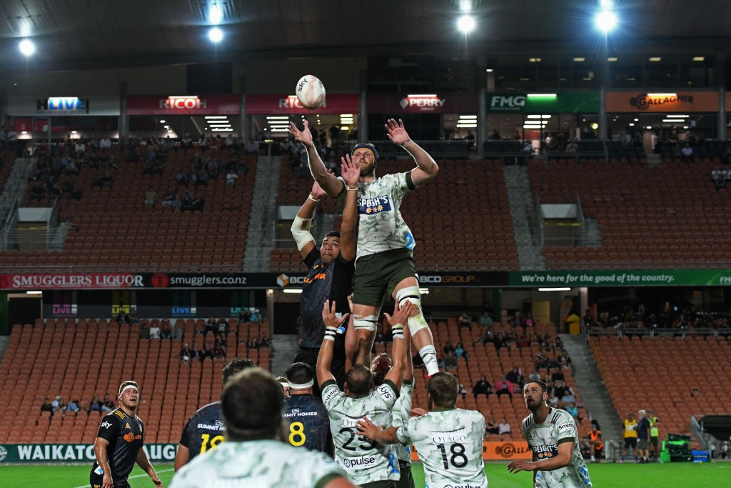 Highlanders lock Josh Dickson takes a lineout during the round two Super Rugby Aotearoa match...