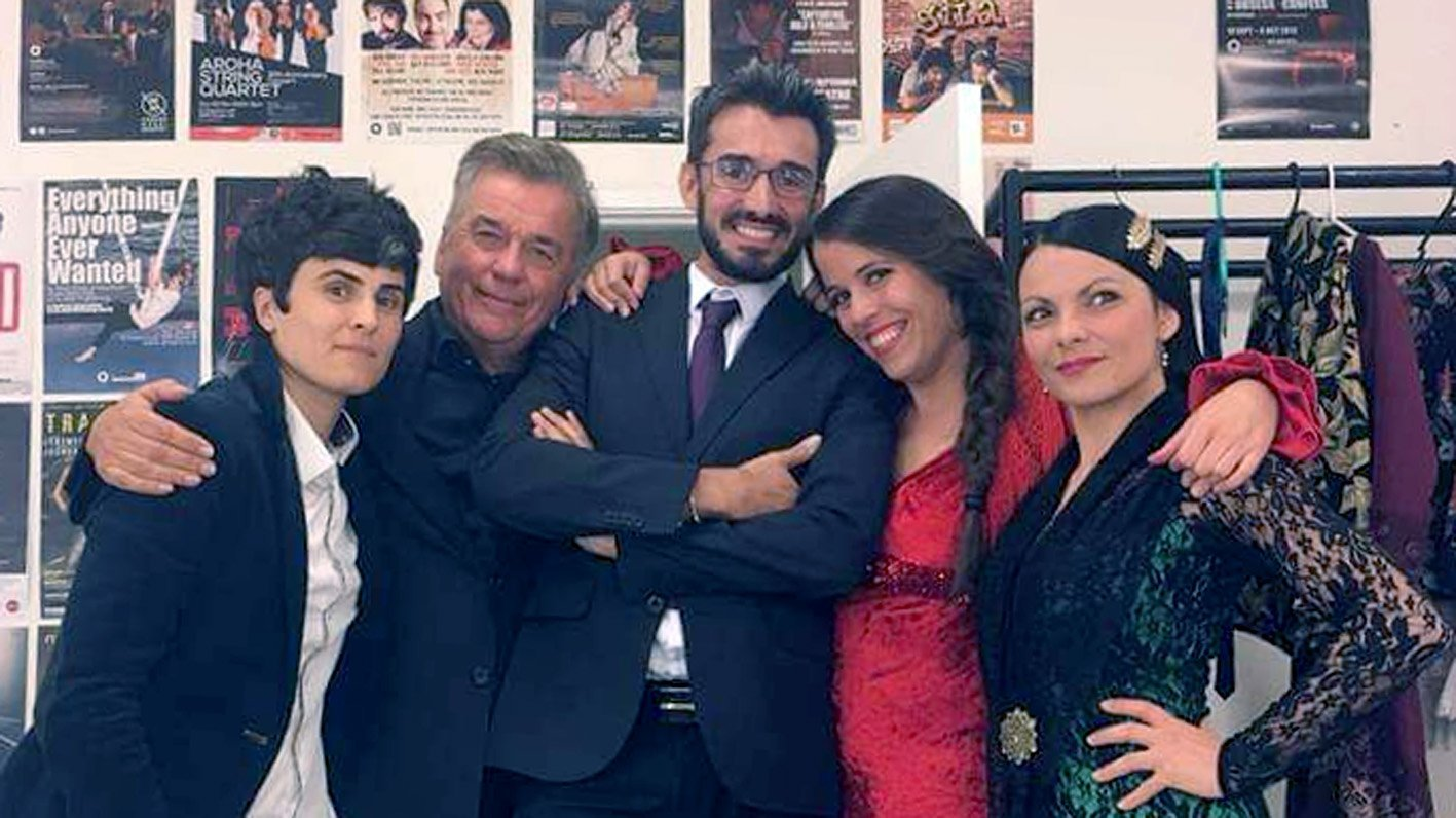 Ian Sinclair (second from left) with dancer Isabel Rivera and her flamenco troupe from Barcelona....