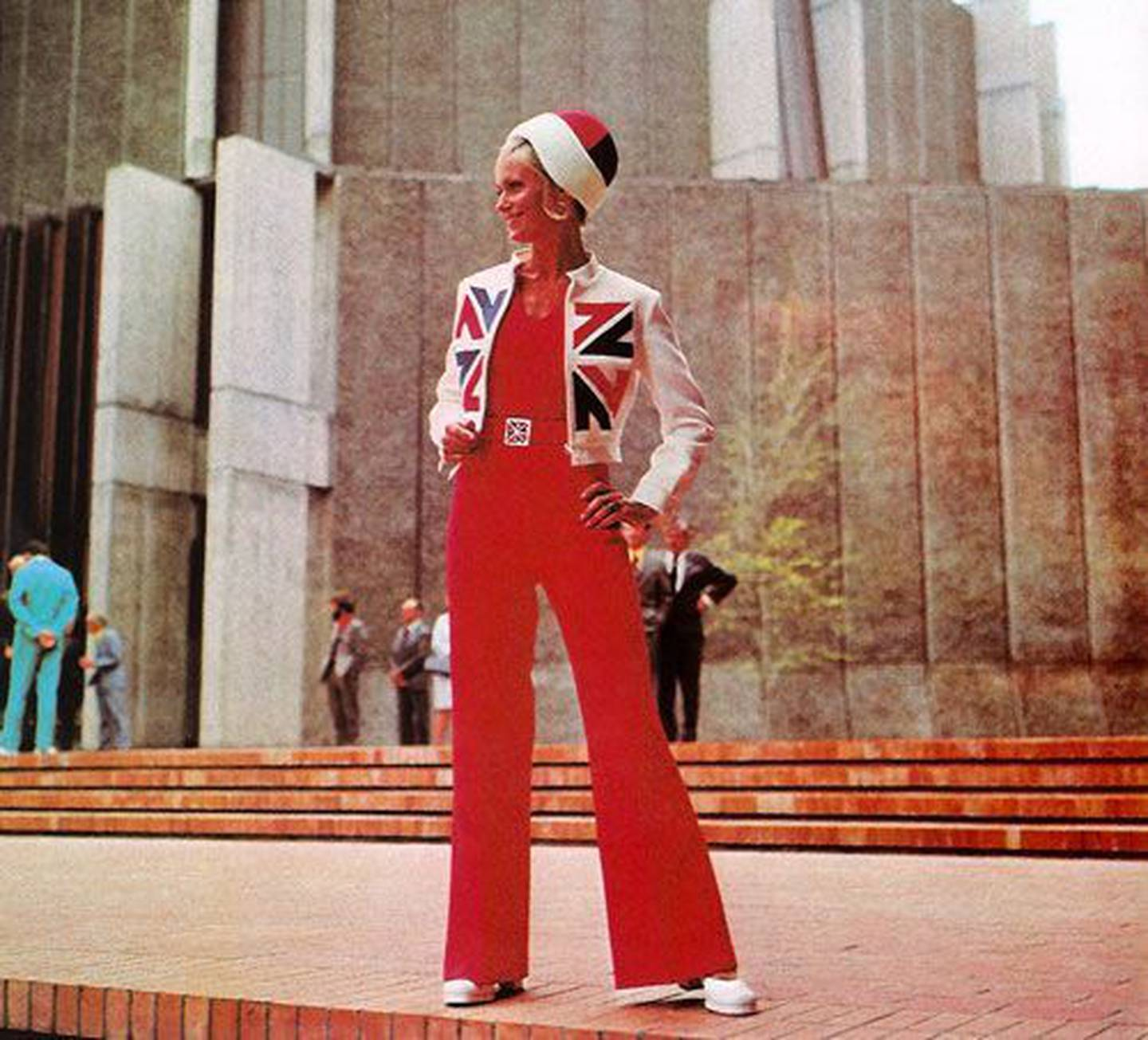 A 1970s jumpsuit designed by Jane Daniels, inspired by Colin Simon's logo. Photo: Supplied, NZH File