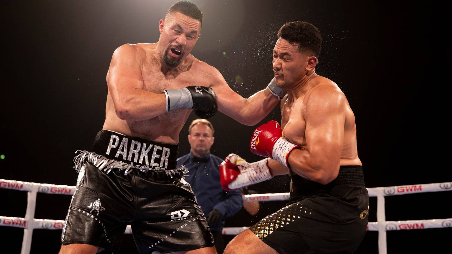 Joseph Parker lands a punch against Junior Fa. Photo: NZ Herald