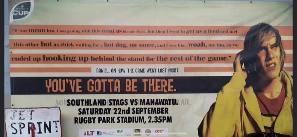 The Rugby Southland marketing billboard from the 2000s which the organisation is now trying to...